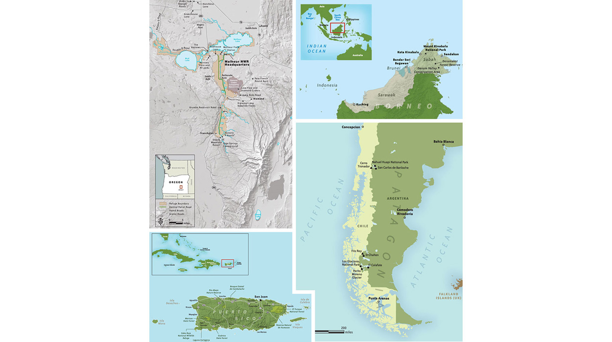 Maps of Maheur NWR, Borneo, Patagonia, and Puerto Rico