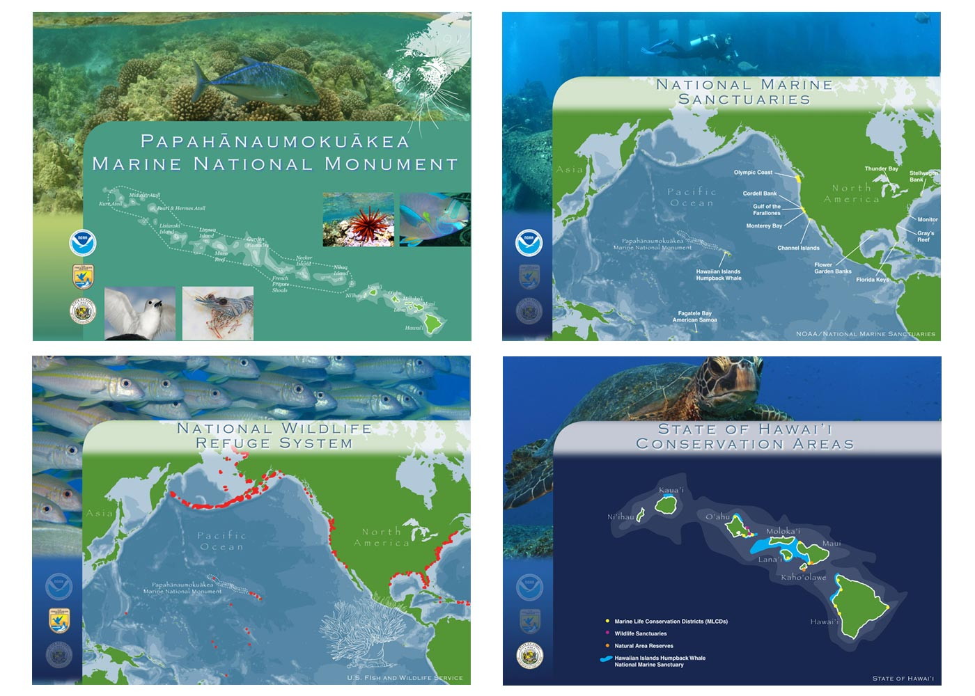 Mosaic of Map Graphics showing Papahanaumokuakea Marine National Monument in relation to Federal and State Agencies